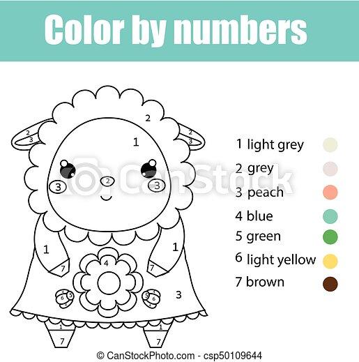 schafe, reizend, erzieherisch, färbung, farbe, spiel, zeichnung, kinder, zahlen, aktivität, character., kinder, seite