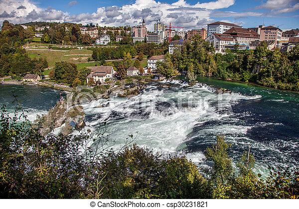 Waterval Rijn Zwitserland.Schaffhausen Rijn Dalingen Waterval Grootste