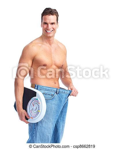 schalen., vrolijke , man, fitness - csp8662819