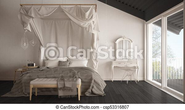 Schalfzimmer, graue , klassisch, groß, minimalistic, bett ...