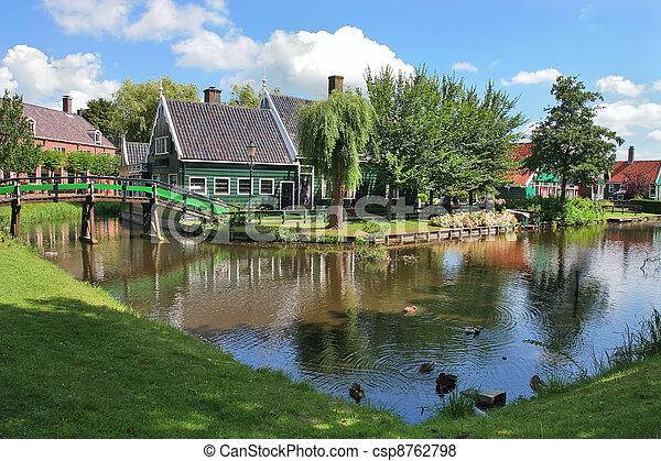 schans, netherlands., zaanse, village., niederländisch - csp8762798