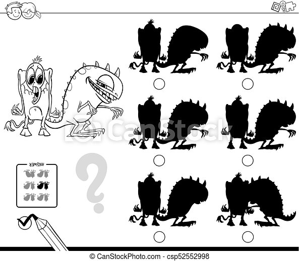 Schatten, farbe, spiel, buch, monster. Lustiges,... EPS Vektoren ...