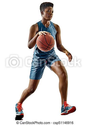schatten, frau, freigestellt, spieler, basketball, teenager, m�dchen - csp51146916