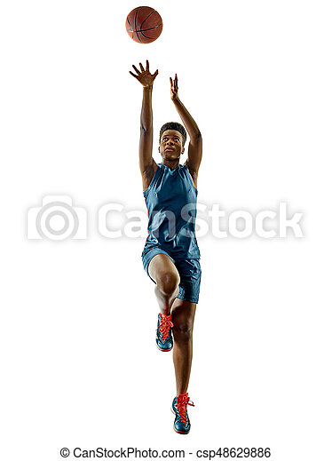 schatten, frau, freigestellt, spieler, basketball, teenager, m�dchen - csp48629886