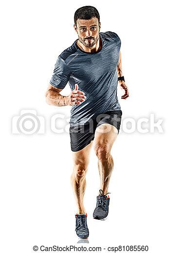 schatten, läufer, freigestellt, mann- rütteln, jogger, rennender  - csp81085560
