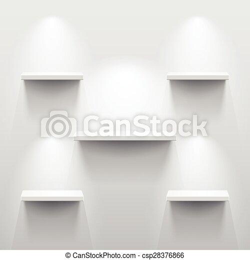 Zimmer, regale, drei, schatten, weißes, leerer. Zimmer