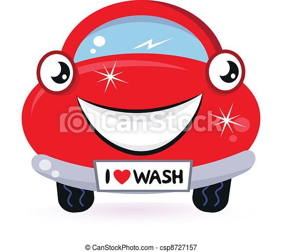 schattig, auto, vrijstaand, wassen, wit rood - csp8727157