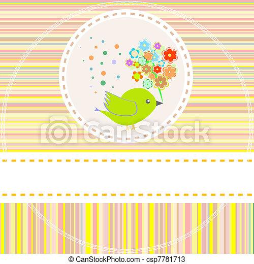 schattig, bloemen, vector, vogels, kaart - csp7781713