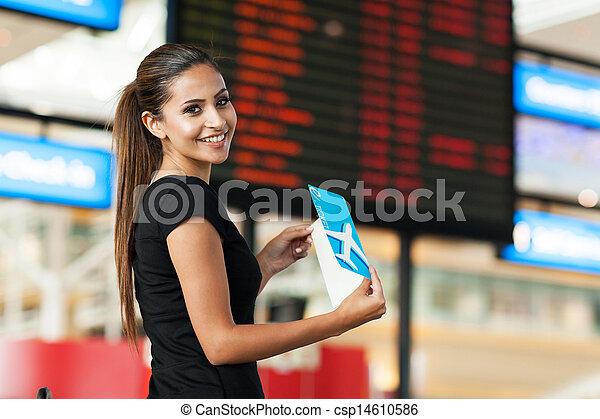 schattig, businesswoman, het reizen, lucht - csp14610586