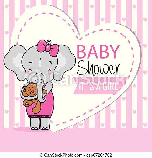 schattig, card., teddy, douche, elefant, baby meisje - csp67204702