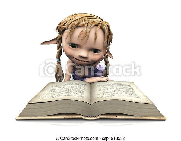 schattig, girl lezen, spotprent, book. - csp1913532