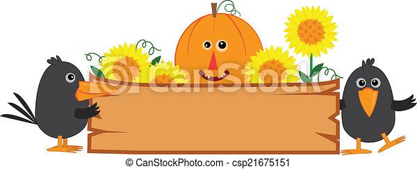 schattig, herfst, meldingsbord - csp21675151