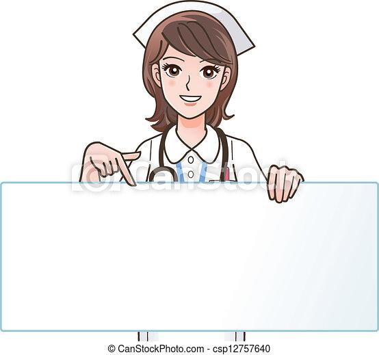 schattig, het glimlachen, verpleegkundige, wijzende - csp12757640