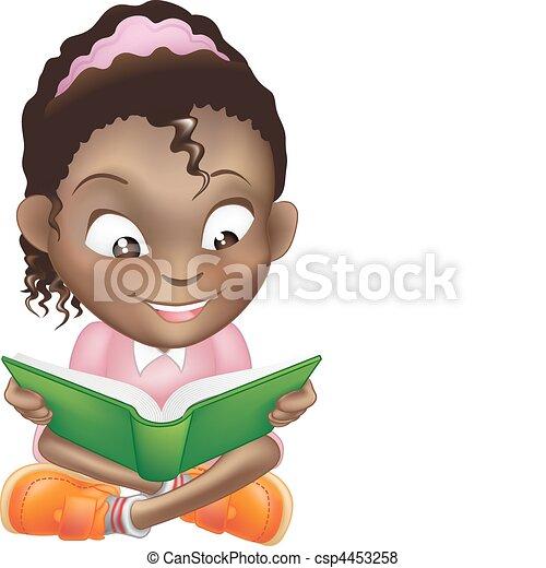schattig, illustratie, boek, zwart meisje, lezende  - csp4453258