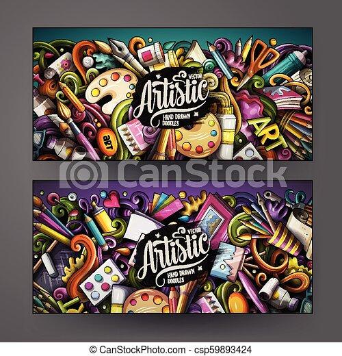 schattig, kleurrijke, kunstenaar, hand, vector, ontwerp, getrokken, doodles, banieren, spotprent - csp59893424
