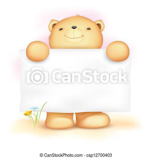 schattig, leeg, plank, beer, teddy - csp12700403