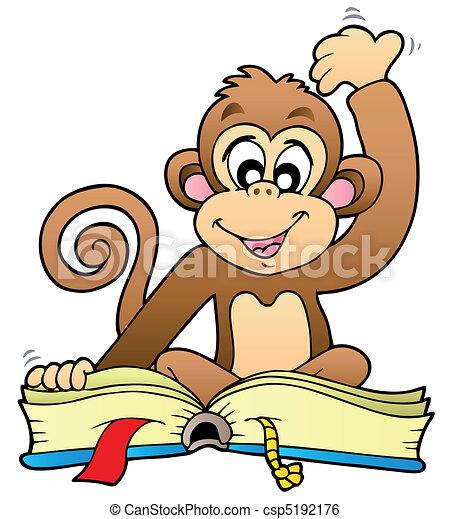 schattig, lezende , aap, boek - csp5192176