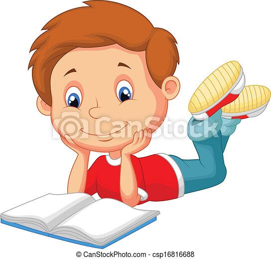 schattig, lezende , spotprent, boek, jongen - csp16816688