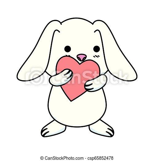 schattig, liefde, konijn, hart - csp65852478