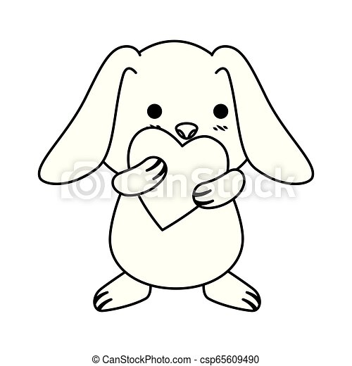 schattig, liefde, konijn, hart - csp65609490