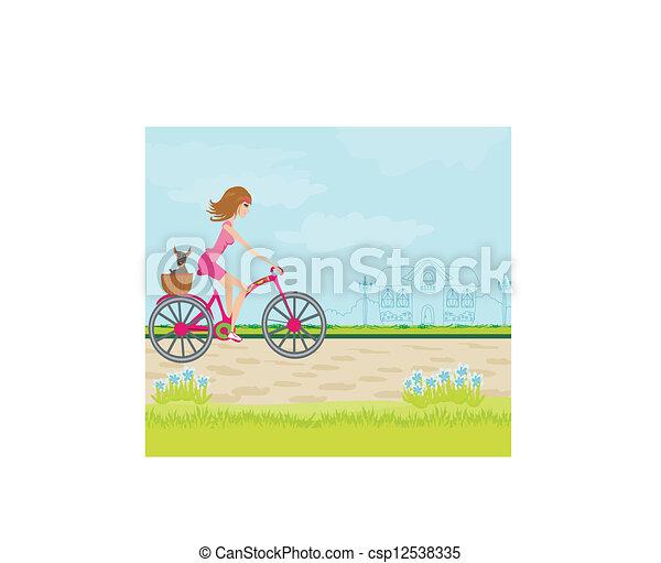 schattig, meisje, fiets, geleider, vrolijke  - csp12538335