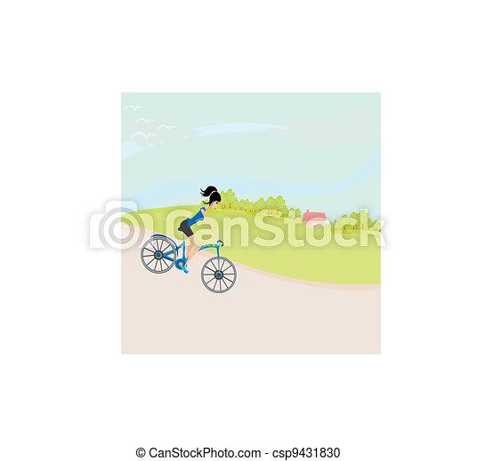 schattig, meisje, fiets, geleider, vrolijke  - csp9431830