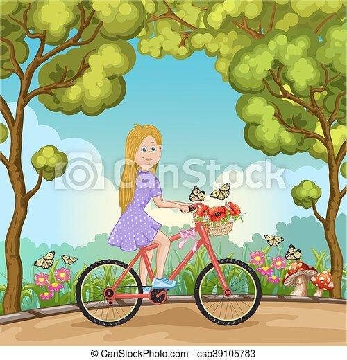 schattig, meisje, fiets, park, paardrijden - csp39105783