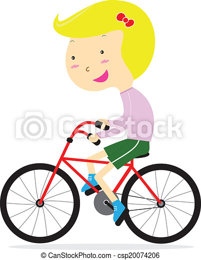 schattig, meisje, vrolijke , fiets te rijden - csp20074206