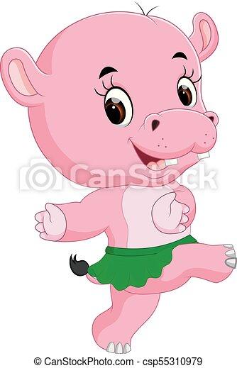 schattig, nijlpaard, dancing - csp55310979