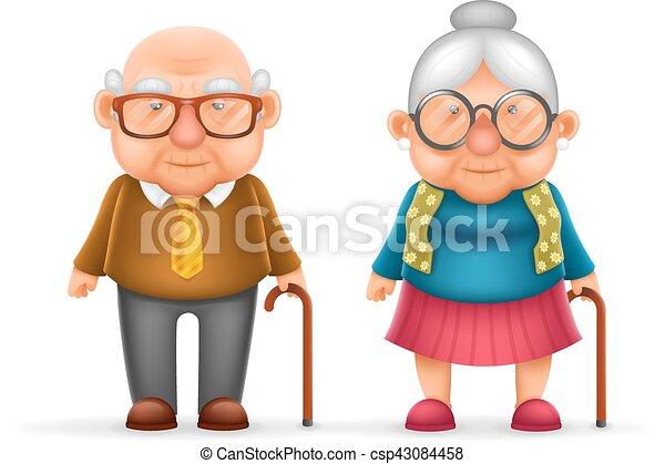schattig, oud, gezin, karakter, vrijstaand, illustratie, grootvader, realistisch, vector, ontwerp, man, oma, vrolijke , dame, spotprent, 3d - csp43084458