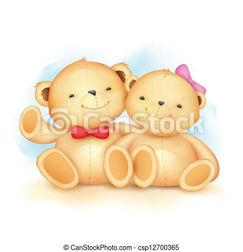 schattig, paar, beer, teddy - csp12700365