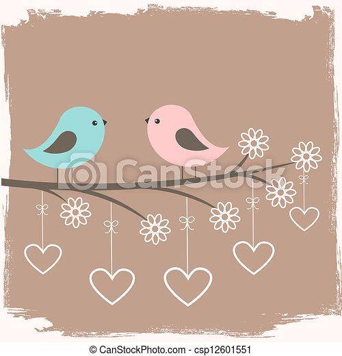 schattig, paar, vogels - csp12601551
