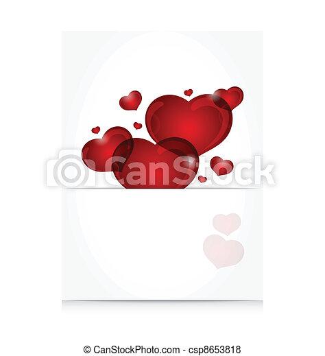 schattig, romantische, brief, hartjes - csp8653818