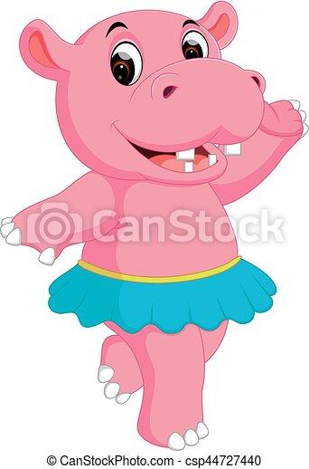 schattig, spotprent, nijlpaard, dancing - csp44727440
