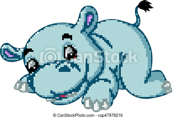 schattig, spotprent, nijlpaard - csp47978216