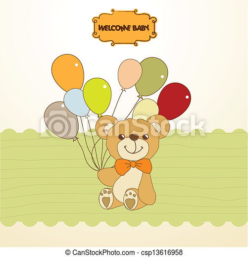 schattig, teddy beer, douche, baby, kaart - csp13616958