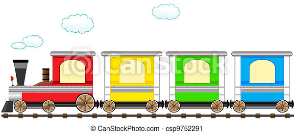 schattig, trein, bevestigingslijst, spotprent, kleurrijke - csp9752291