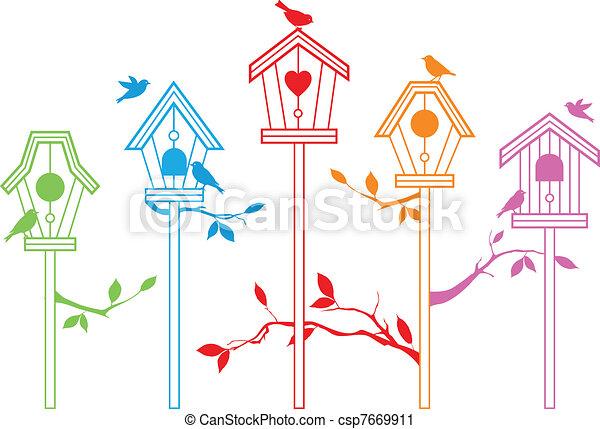 schattig, vector, vogel, huisen - csp7669911
