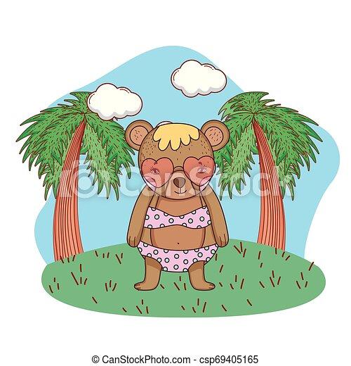 schattig, weinig; niet zo(veel), zonnebrillen, hart, kamp, beer - csp69405165
