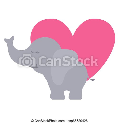 schattig, weinig; niet zo(veel), elefant, hart - csp66830426