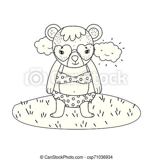 schattig, weinig; niet zo(veel), zonnebrillen, hart, kamp, beer - csp71036934
