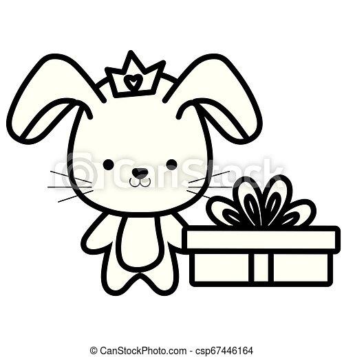 schattig, weinig; niet zo(veel), konijn, cadeau - csp67446164