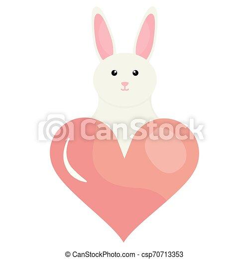 schattig, weinig; niet zo(veel), liefde, konijn, hart - csp70713353