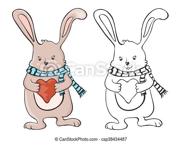 schattig, weinig; niet zo(veel), liefde, konijntje, hart - csp38434487