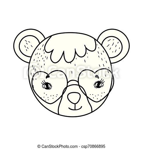 schattig, weinig; niet zo(veel), zonnebrillen, beer, hart - csp70866895
