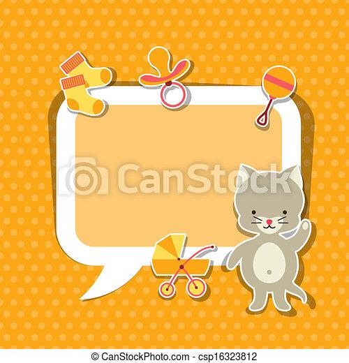 schattig, weinig; niet zo(veel), fotokader, cat., achtergrond, baby - csp16323812