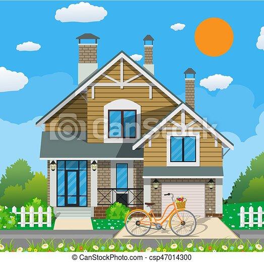 schattig, witte , fiets, particulier, woning - csp47014300