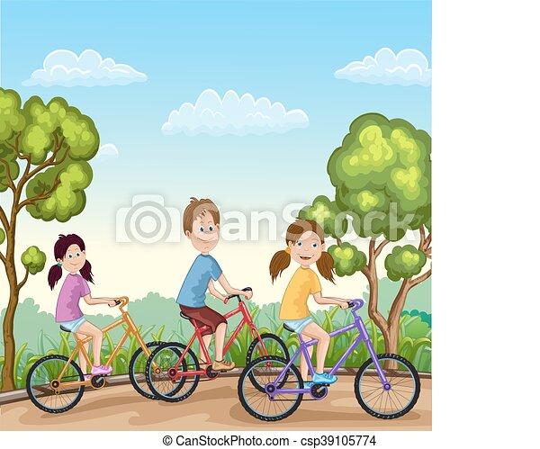 schattig, zijn, jongen, meiden, fietsen, paardrijden - csp39105774