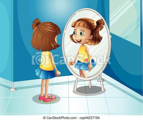 Schauen badezimmer gl cklich m dchen spiegel eps for Se voir dans un miroir