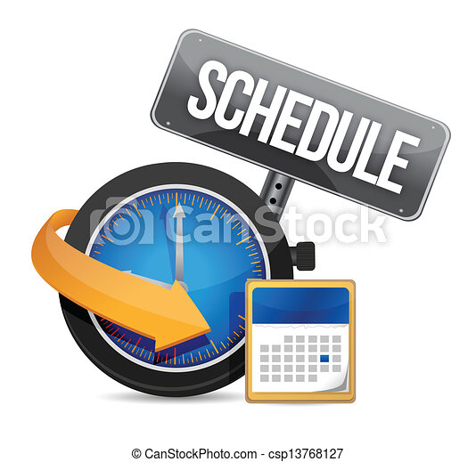 Schedule icon with clock - csp13768127